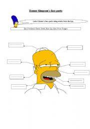 English Worksheet: Homer Simpson face parts