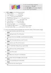 English Worksheet: if or unless