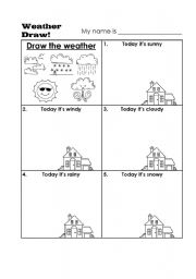 english worksheets draw the weather. Black Bedroom Furniture Sets. Home Design Ideas