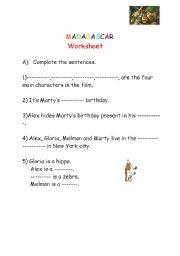 English Worksheet:  Madagascar worksheet 1