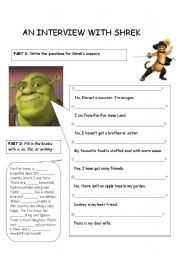 English Worksheets: An Interview with Shrek