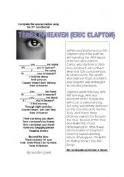 English Worksheet: TEARS IN HEAVEN - ERIC CLAPTON