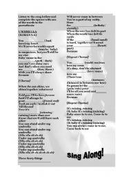 English Worksheets: UMBRELLA - RIHANNA