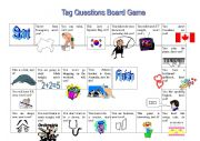 English Worksheets: Tag Question Board Game