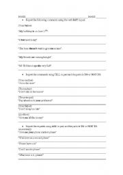 English Worksheets: reporting what someone said or asked