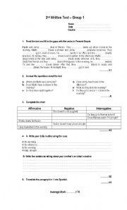 English Worksheet: test present simple