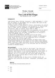 English Worksheet: Lord of the Rings (1978) Video Guide
