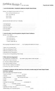 English Worksheets: pre intermediate revision