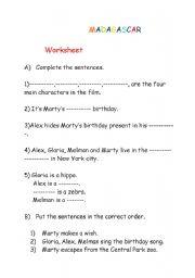 English Worksheet: Madagascar worksheet 2