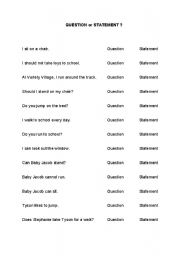 English Worksheets: Question or Statement?