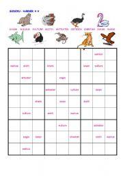 English Worksheets: Sudoku animals harder