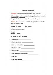 English Worksheets: sentences and phrases