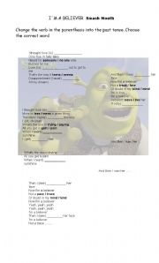 English Worksheet: I´m a beliver, Shrek