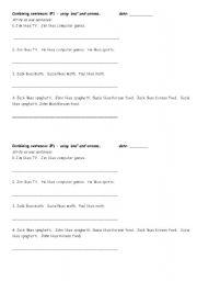 English Worksheets: combining sentences - easy