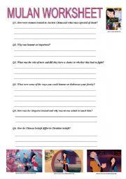 Mulan Movie Worksheet