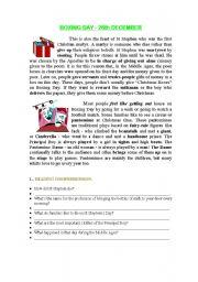 English Worksheet: Boxing Day