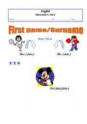 English worksheet: Firts name/surname