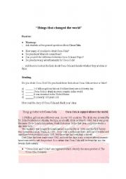 English Worksheets: Things that changed the worls
