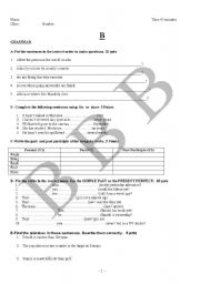 English Worksheets: exam questions 5 (ELEMENTARY)