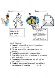 English Worksheets: introduction to basic words about highlight - magazine, etc.