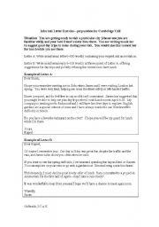 english worksheet informal letter exercise prep for cambridge advanced