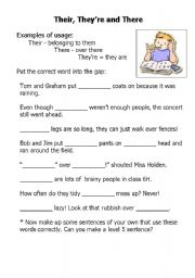 worksheet: Their, there and they´re