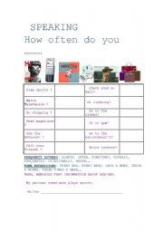English Worksheets: How often do you....? Speaking activity