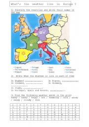 English Worksheet: The weather in Europe