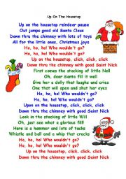 English Worksheets: Christmas song (Up on the house top) by Ann Murray