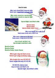 English Worksheets: Christmas song (Must be Santa) by Raffi