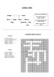 English Worksheet: Family Tree Crossword