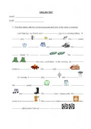 English Worksheet: Test on the simple past and weather, clothing and camping vocabulary