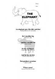 English Worksheets: THE ELEPHANT RHYME