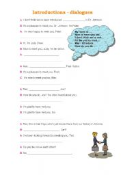 English Worksheets: introductions, dialogues