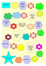 English Worksheets: Present Simple board game