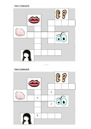 English Worksheet: Face picture crossword