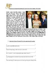 English Worksheets: Harry Potter -  5th Form Exam