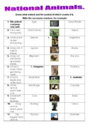 English Worksheets: National Animals