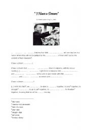 English Worksheet: Martin Luther King I have a dream