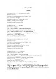 English Worksheet: Song: Have you ever?  by Brandy. Present perfect gap fill.