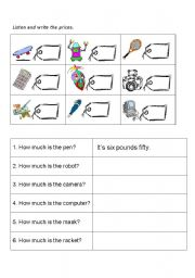 English worksheet: HOW MUCH IS THE ...?