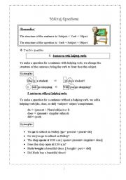 English Worksheets: Making Questions Worksheet
