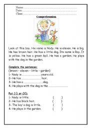 English Worksheets: Comprejension