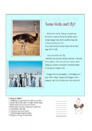 English Worksheets: Some birds can�t fly - Reading Comprehension (Modals with Can/Can�t)