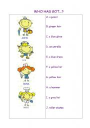 English Worksheets: Who has got?