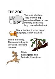 English Worksheets: The zoo