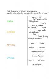 English worksheet: seasons