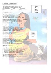 English Worksheet: pocahontas song