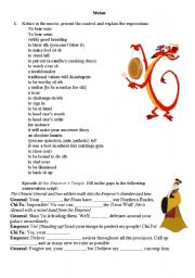 Worksheets Mulan Worksheet english teaching worksheets mulan the movie