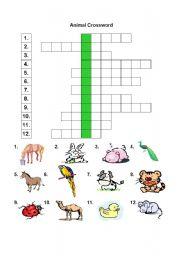 English Worksheets: ANIMAL CROSSWORD